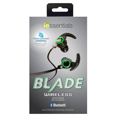 iEssentials Earbud Bluetooth Blade Sport w/Mic Black/Green