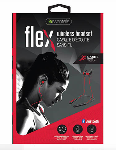 iEssentials Earbud Bluetooth Flex w/Neck Band & Mic Red