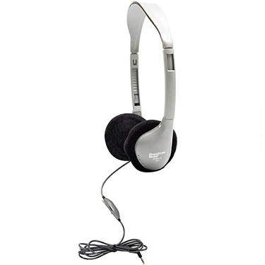 HamiltonBuhl Headphones On-Ear w/vol cntrl Dura-Cord Silver