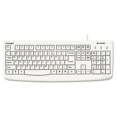 Kensington Keyboard Wired USB Antimicrobial Washable White