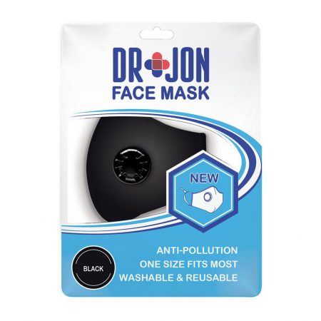 Dr Jon Face Mask 5 Layer Black Washable Optional Filter