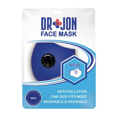 Dr Jon Face Mask 5 Layer Blue Washable Optional Filter
