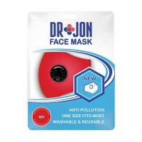 Dr Jon Face Mask 5 Layer Red Washable Optional Filter