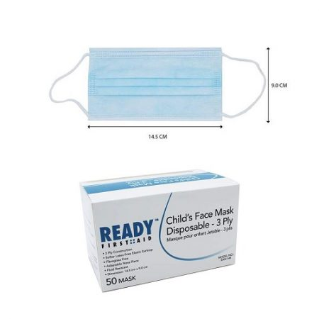 Ready First Aid Face Mask Disp Kids 3 Ply Box 50 Blue