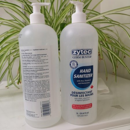 Zytec Hand Sanitizer 1L Bottle w/Pump w/Aloe Made In Canada